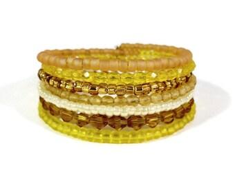 Memory Wire Bracelet, Yellow Crystal Bracelet, Wrap Bracelet, Seed Bead Bracelet, Bangle, Cuff Bracelet, Women's Beadwork Jewelry, Gift Idea