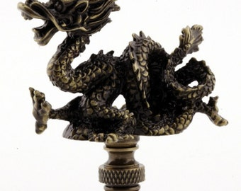 LAMP FINIAL dragon antique brass