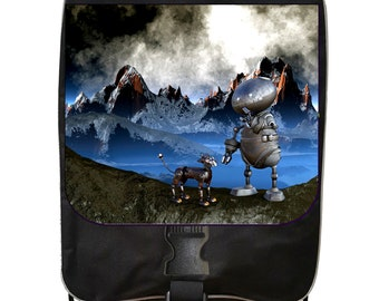Robot and Dog on a Mountain - Black School Backpack & Pencil Bag Set