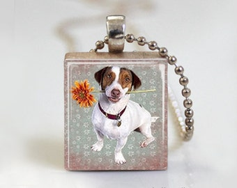 Puppy Dog and Gerber Daisy - Scrabble Tile Pendant - Free Ball Chain Necklace or Key Ring