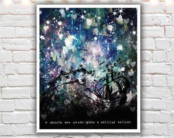 nautical decor - mixed media painting - ship art - travel prints