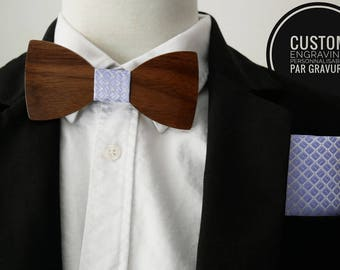 Walnut wood bow tie + blue pocket hanky, personalized with name engraved, handkerchief