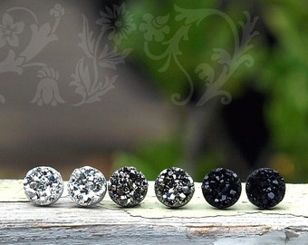 Black, Gunmetal Gray, Bright Silver Glitter Studs, Faux Druzy Earrings, 3 Pair Set. Titanium, Sterling Silver, or Stainless Steel Posts.