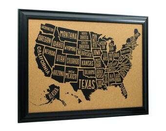 Craig Frames, 20x30 Inch Wayfarer Cork Board, Typographic United States Push Pin Travel Map, Satin Black Frame and Pins, (5812030MAP01F)