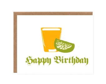 Happy 21st Birthday Tequila and Lime -- Screenprinted Card