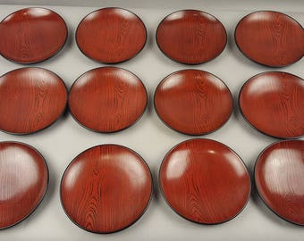 "Set of 6 Vintage Japanese Japan Plastic Lacquer Lacquerware Snack Plates Dishes Faux Bois Wood Grain Design Tea Ceremony Chado Chanoyu 5"""