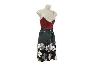 Denim skirt, grunge denim skirt, Black skirt, 90's denim skirt, Size 14 skirt,    # 20