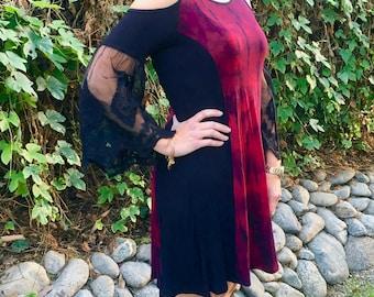 Plus Size Dress, Tie Dye Dress, Plus Size Clothing, Black Lace Sleeve, Plus Size Fashion, Red with Black, S M L XL 2X 3X