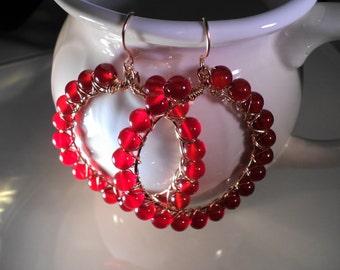 SALE Hoop Earrings Carnelian Stones 14k Gold filled Earrings
