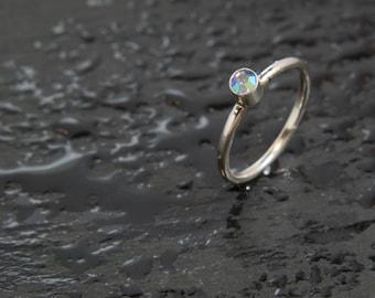 Vintage Crystal AB Swarovski Crystal & Sterling Silver Stacker Ring