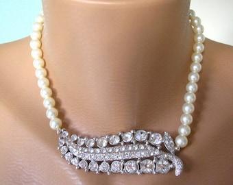 Swarovski Pearl Necklace, Mother of the Bride, Bridal Choker, Statement Necklace, Pearl Choker, Great Gatsby, Wedding, Rhinestones