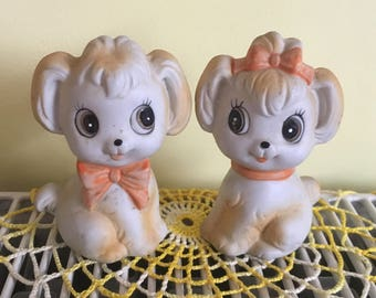 Vintage Chalk Cute Puppy Dogs Salt and Pepper Shakers