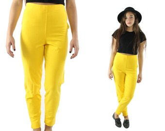 Vintage 90s High Waisted Pants Yellow Knit Leggings Cropped Capri Pants Trousers 1990s Medium M Womens Fall Fashion