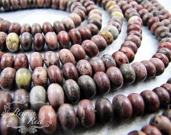 Crazy Horse Jasper Smooth Rondelle Beads, rondelle beads, gemstone beads, neutral jasper beads, jewelry making, beading - reynaredsupplies