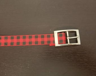 "1"" Red Buffalo Plaid Dog Collar"