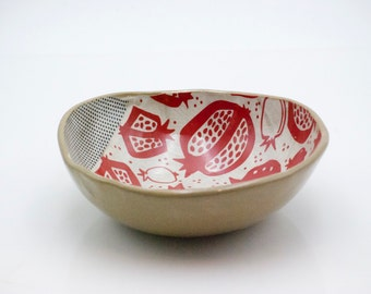 Ceramic decorative bowls, Housewarming gift, Red pomegranate bowl, Serving bowls, 9th anniversary gift, Pottery bowls, Wedding gift