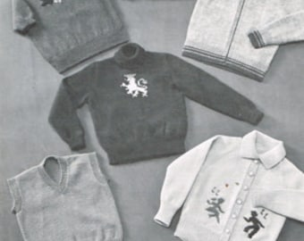 Vintage Knitting Pattern - Sweaters and Cardigan's for Boys and Girls - Children's Pullover -  PDF Download - Retro - 60's 70's