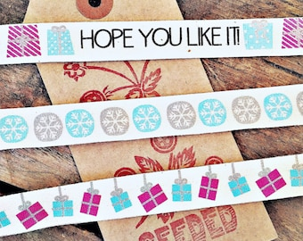 Fabulous Printed Cotton  Festive Tape Ribbons - Hope You Like It, Snowflakes, Presents