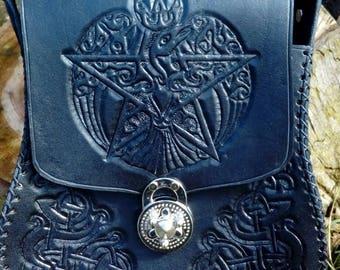 Celtic Raven hand carved Leather Handbag