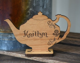 Personalized Afternoon Tea Party Table Decorations. Mothers Day Party Name Cards. Wedding Rehearsal Dinner Table Decor.