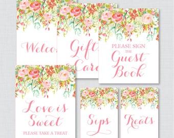 Pink Floral Bridal Shower Table Signs - Printable Pink and Gold Garden Flower Bridal Shower Decorations - Welcome Sign, Favor Sign, etc 0004