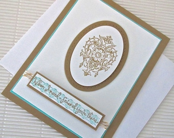 When I need a friend you're there card handmade stamped embellished masculine friendship brown aqua vintage stationery