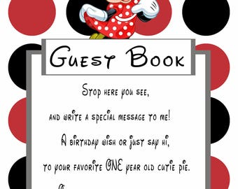 Minnie Mouse Red Guestbook Sign for 1 year old girl