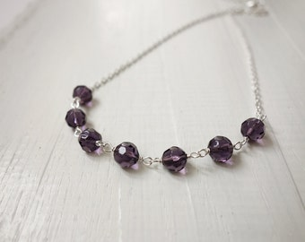 Short chain necklace purple bead necklace sparkly minimalist necklace for women