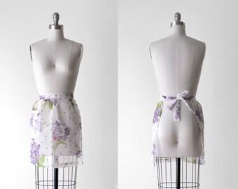 1960's apron. 60 floral apron. white & purple. skirt apron. sheer. pocket. 50 60.
