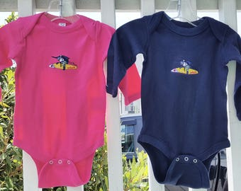 Surf Trixie Embroidered neon pink or navy Onesie infant creeper size 6 and 12 months fishing gift baby