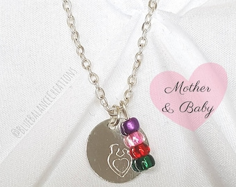 Hand Stamped Mother & Baby Necklace with Children's Birthstones, Silver Coin Necklace, Mother and Child