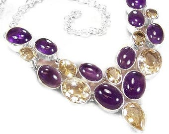 Amethyst and Citrine Sterling Silver Necklace