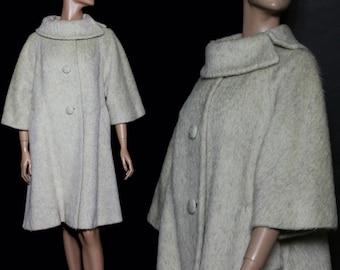 Vintage Lilli Ann Coat | 1950s Lilli Ann Coat | 50s Lilli Ann Coat | Beige Lilli Ann Coat | Lilli Ann Swing Coat | Mohair Lilli Ann Coat |