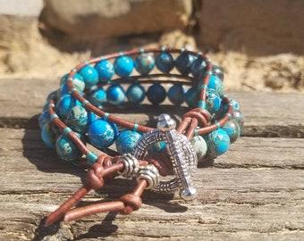 Turquoise Leather Double Wrap Beaded Bracelet