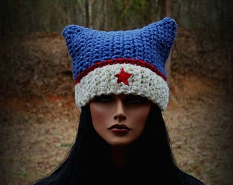 USA Beanie Hat, Blue Beanie, Womens Cat Hat, Cat Ears Hat, Cat Hat, Red White Blue, Red Star Hat, Chunky Hat, Cat Ears Beanie, Cat Beanie