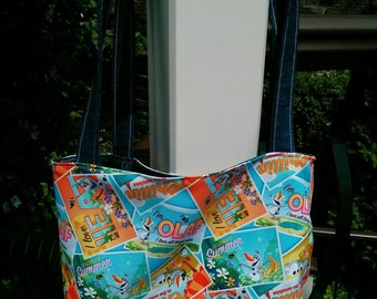 Disney Frozen Olaf tote bag! Denim summer beach purse reusable reversible tote with pocket