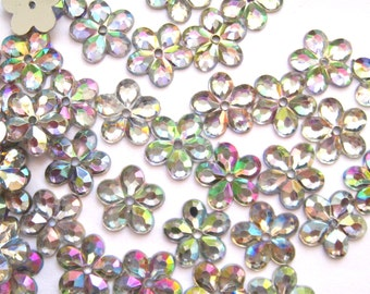 100 pcs Iridescent Clear Floral Sew on Flatback Rhinestones - 1 hole