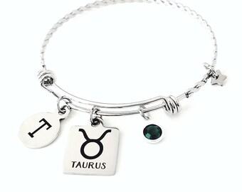 Personalized Taurus bangle Personalized bangle bracelet Silver Taurus bracelet Taurus jewelry Zodiac bangle bracelet Initial bangle bracelet