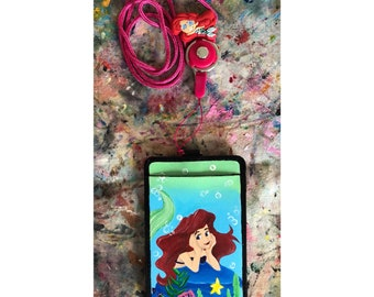 The Little Mermaid hand painted lanyard with The Little Mermaid cord