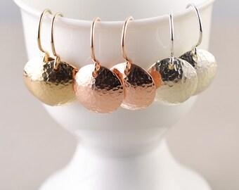 Hammered Disc Earrings, Metal Dome Earrings, Textured Coin Earrings, Metallic