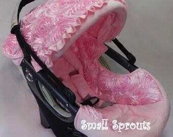 Light Pink 3D Roses/Pink Minky Infant Car Seat Cover 5 Piece set
