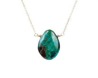 Malachite necklace - chrysocolla necklace - mineral - drop necklace - a green stone necklace - wire wrapped stone - gold filled necklace