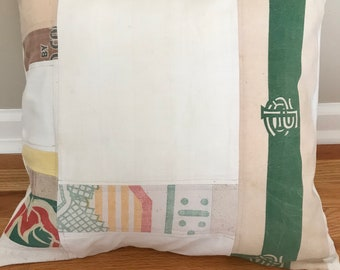 "Patchwork Grain Sack Pillow Cover 20"""