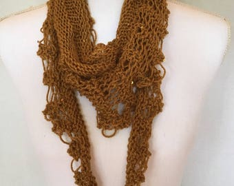 Hand Knit Gold Lace Scarf
