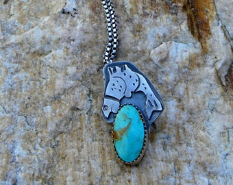 fish necklace with kingman turquoise, totem animal