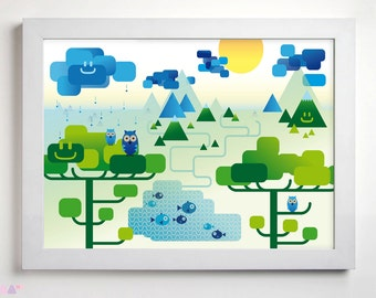 Landscape Sunny Day Illustration, Printable Wall Art, Blue And Green Colourful Poster Details, Nursery Children Room Decor, Digital Print