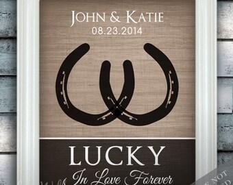 Horseshoe Wedding Love - Custom Date Name Print - Personalized Wedding Gift - Bridal Shower Gift - Horses - Country Wedding - Horse Wedding