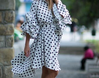 Polka Dots Cotton Maxi Dress for Women, Summer Dresses, Plus Size Maxi Dress, Loose Dress, Summer Dress, Ladies Dress - DR0168CT