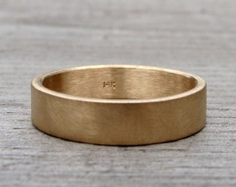 Recycled 14k Yellow Gold Wedding Band, Ring, Matte / Brushed, Flat / Square Edges, Eco-Friendly, Simple, Made to Order