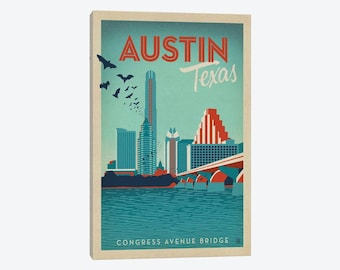 Austin Texas, Austin Texas Skyline, Austin Art Print Poster, Keep Austin Weird, Congress Bridge, Downtown Bats, Canvas Wall Art, Retro Art